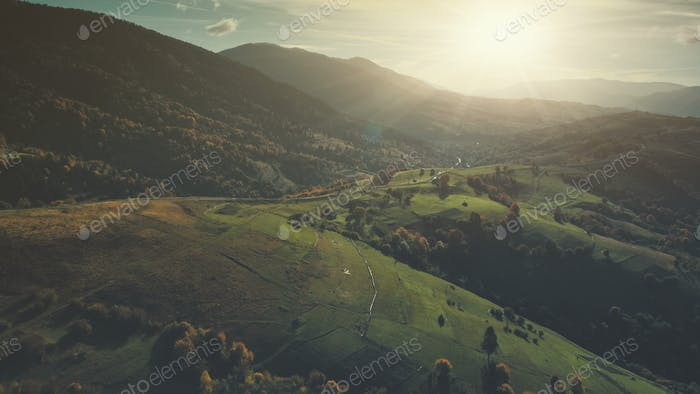 Majestic mountain wild forest slope aerial view