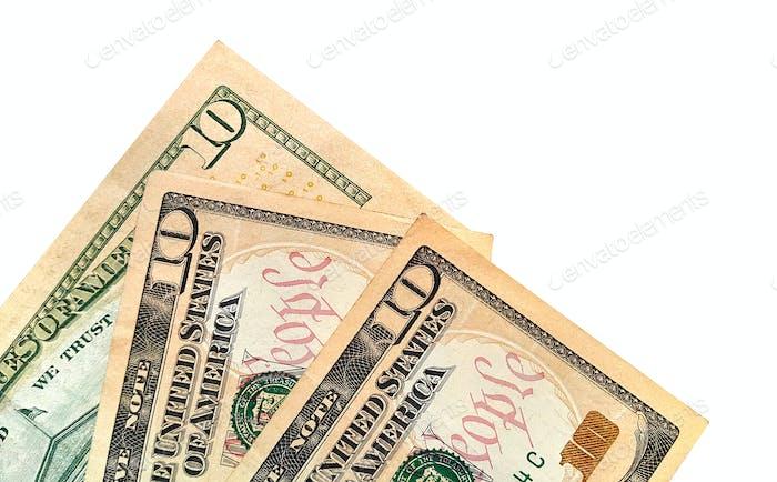 Banknoten von zehn amerikanischen Dollar isoliert auf weiß