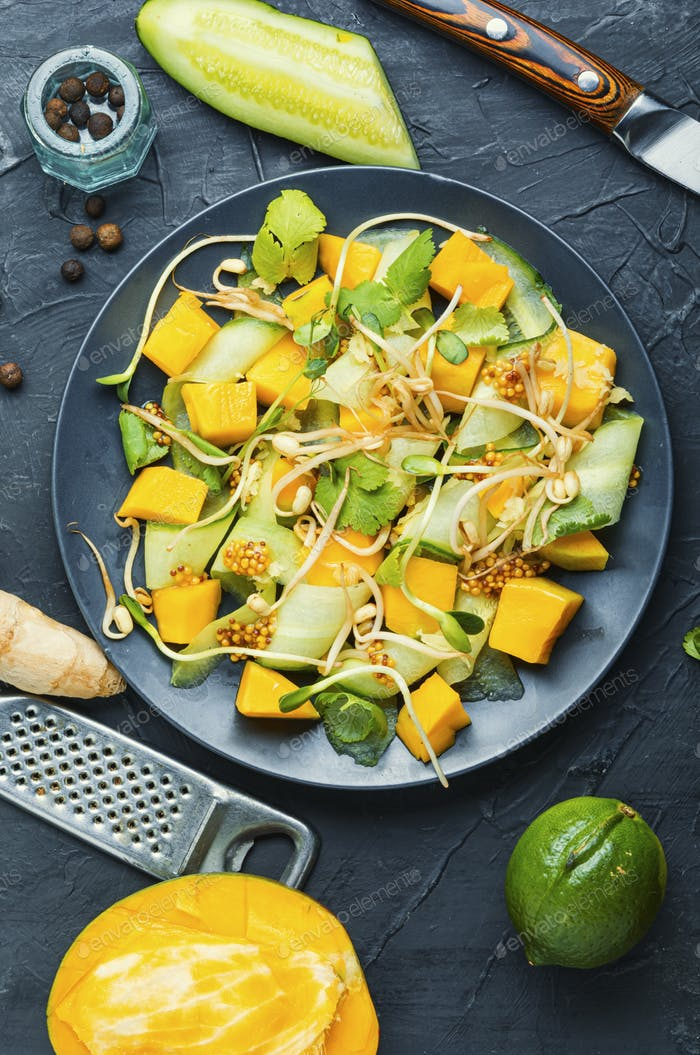 Vegetable fruit salad with sprouts