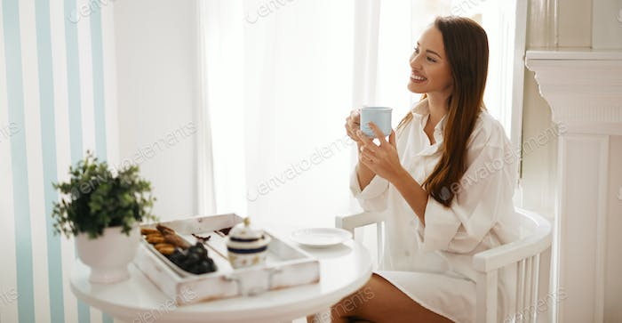 Romantic morning coffee by the window