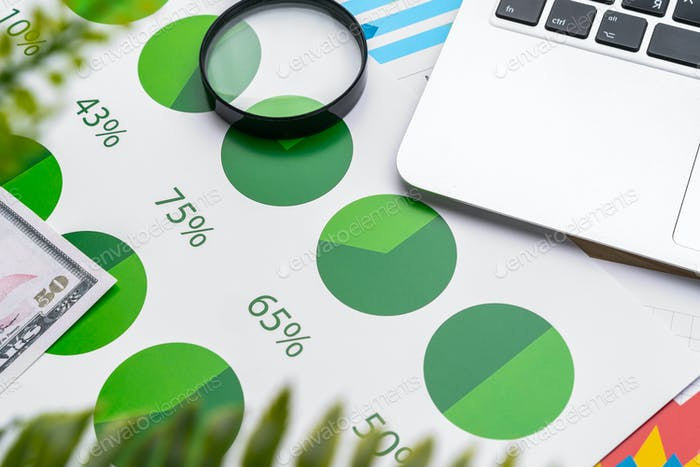 Financial report and laptop on business desk