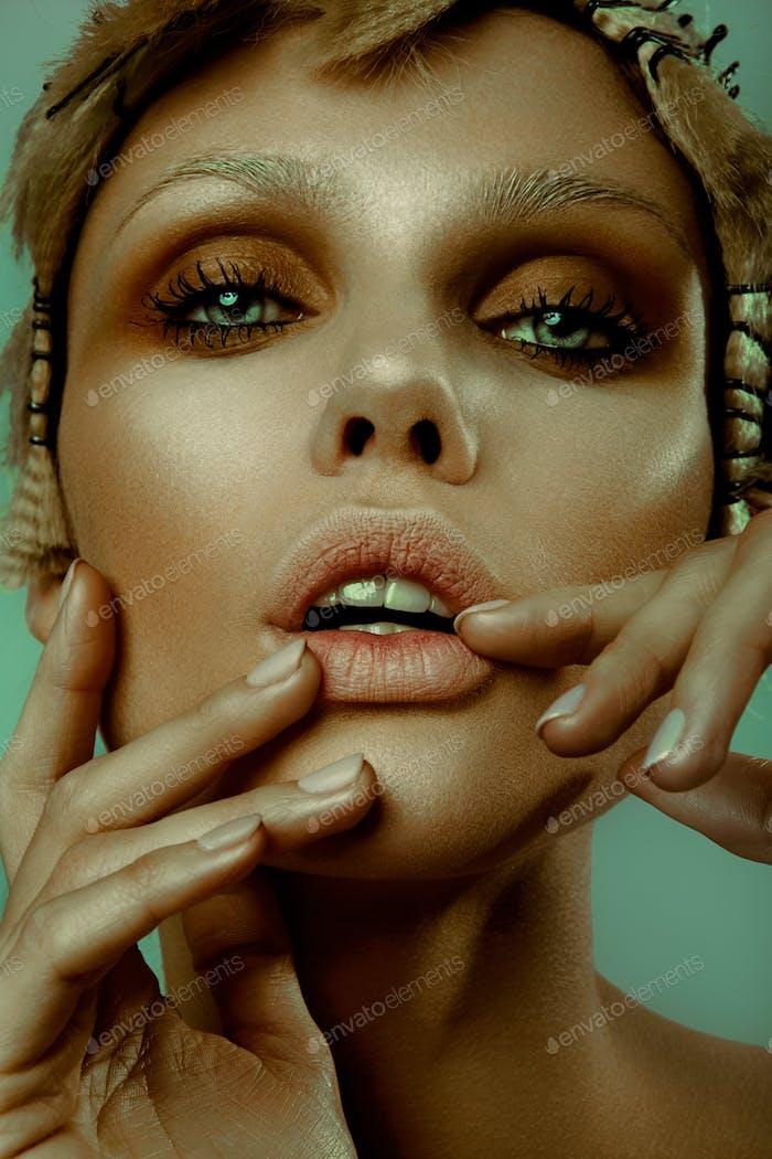 Fashion Stylish Beauty Portrait. Beautiful Girl's Face Close-up. Haircut.