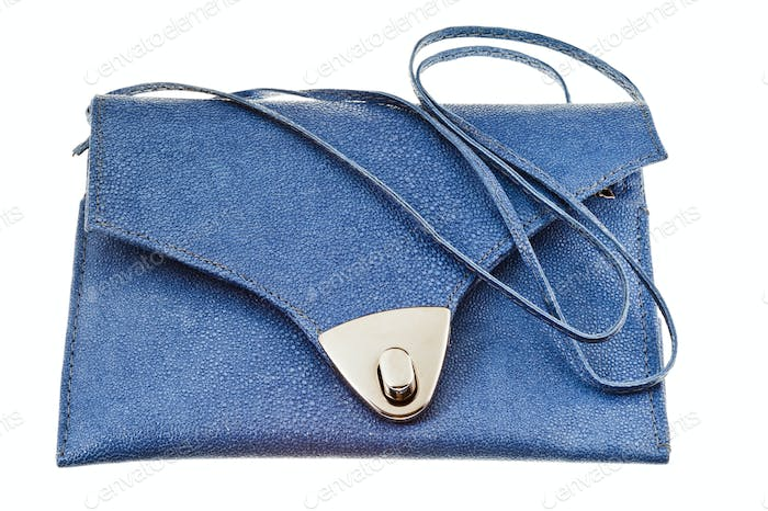 small flat blue handbag
