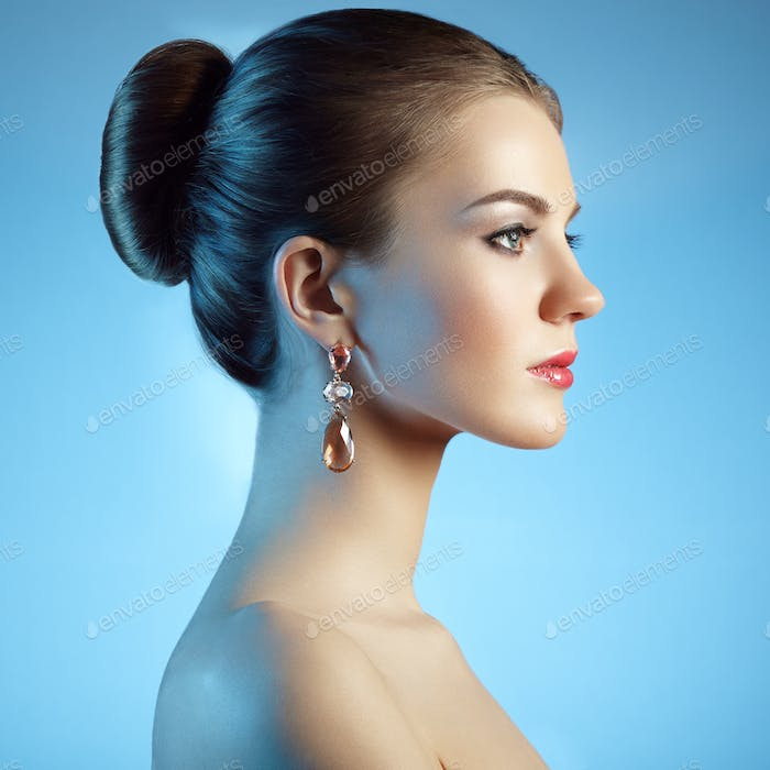 Thumbnail for Portrait of beautiful sensual woman with elegant hairstyle