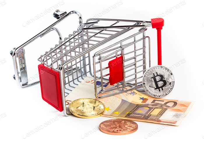 Die Bitcoins auf der fünfzig Euro-Münze