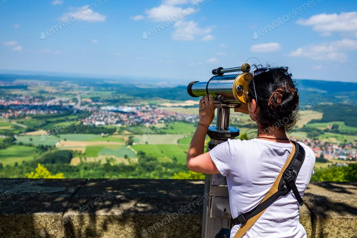Woman tourist on the observation deck, viewing platform Hohenzol