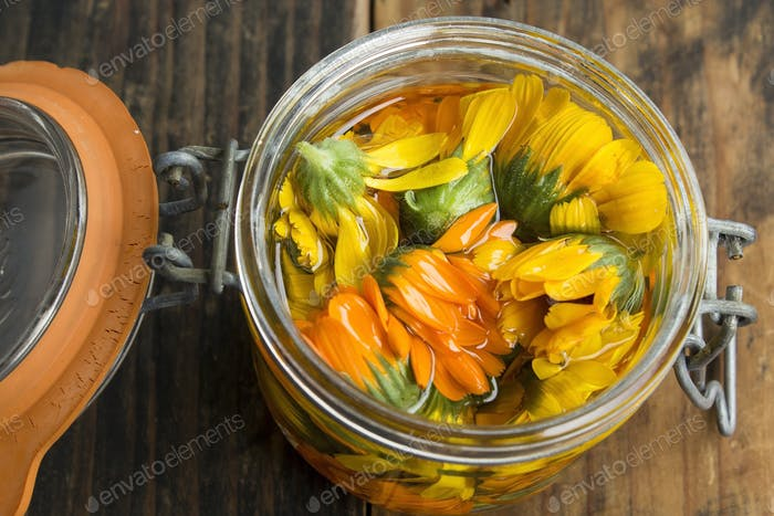 Calendula Oil in a Jar