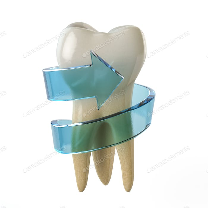 Tooth protection concept. Teeth with blue arrow isolated on whit