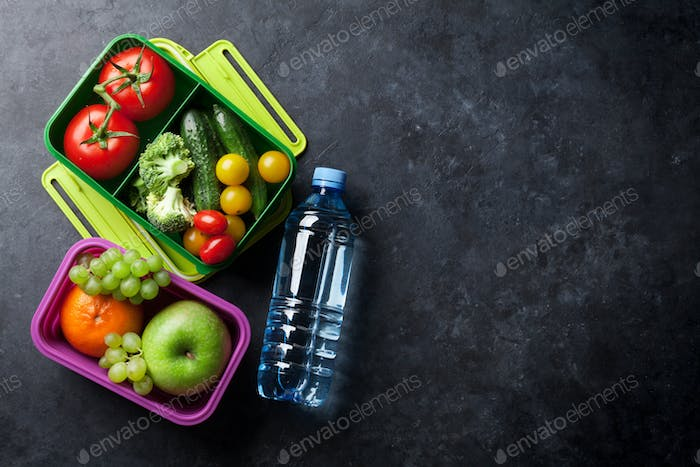 Lunch box with vegetable and fruits