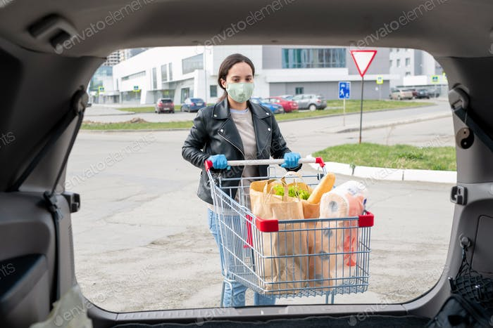 Woman with shopping cart at car