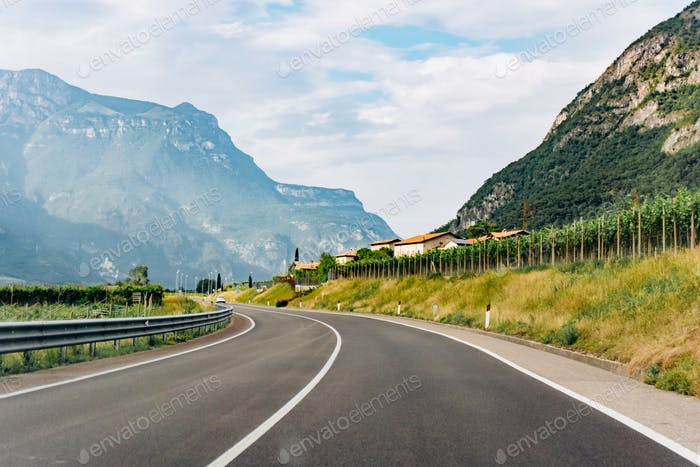 Road in a mountainous area. Beautiful road in the mountains