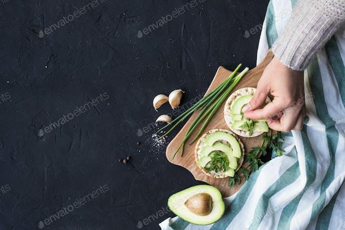 Vegan breakfast rice tortillas avocado tomato spices onions