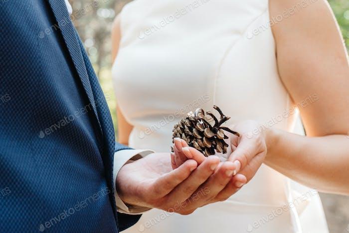die Braut und Bräutigam halten zärtlich Hände zwischen ihnen Liebe und Beziehungen