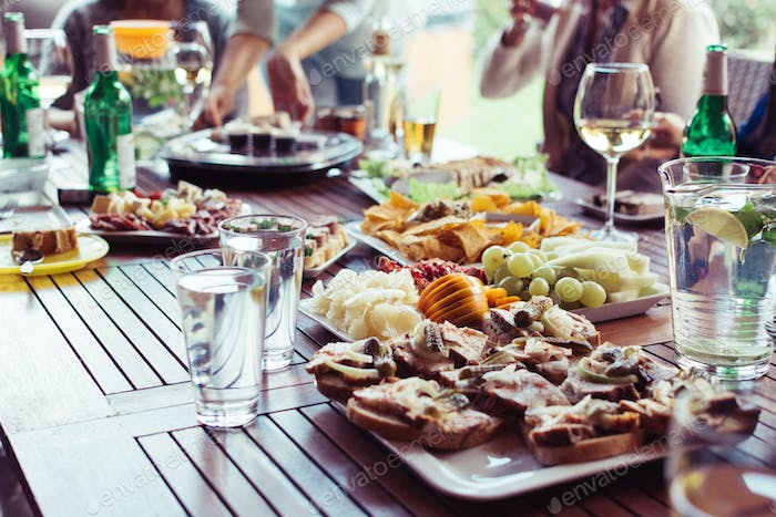 Food at garden party