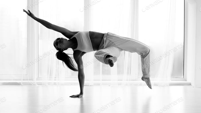 Profesional Contemp Dancer Training In Studio. Black and White