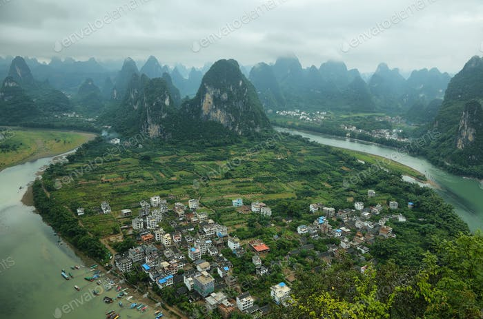 Karst mountains around Li river from Xiangong hill