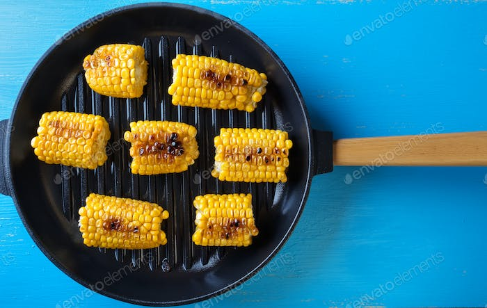 Baked corn in a frying pan