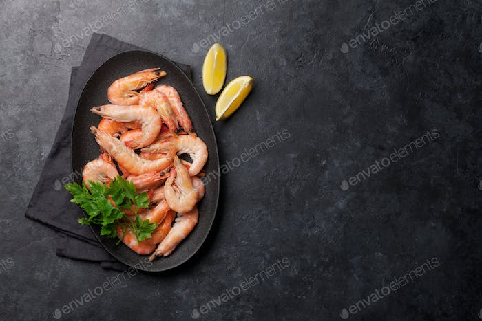 Steamed tiger shrimps