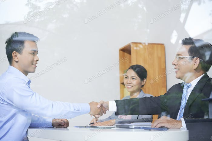 Handshake after job interview