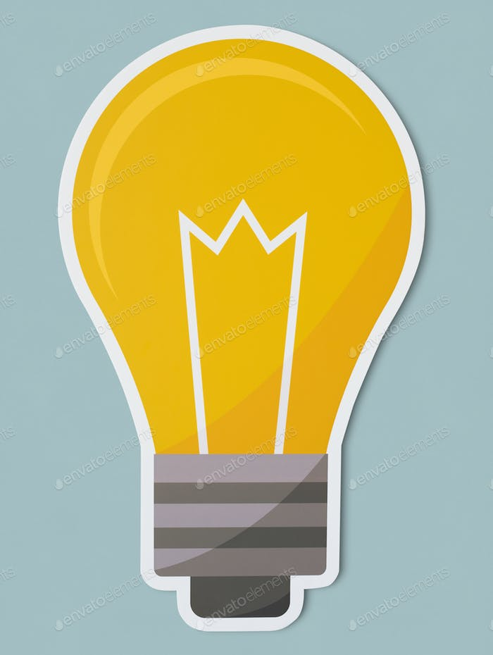 Creative light bulb icon isolated