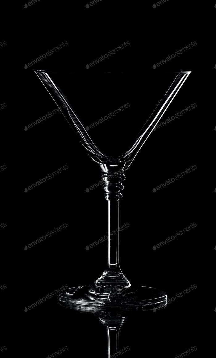 Empty glass silhouette isolated on black background