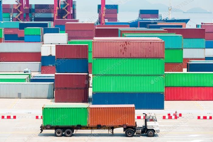 modern container terminal closeup