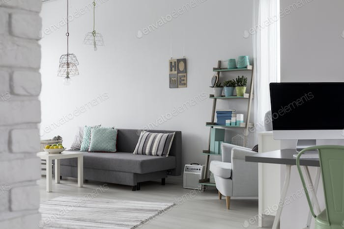 Living room with grey sofa, coffee table and white armchair