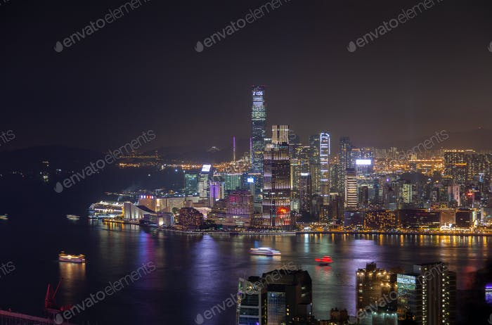 Cityscape Hong Kong districts with coloured illumination