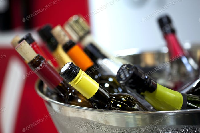 Close up of wine bottles
