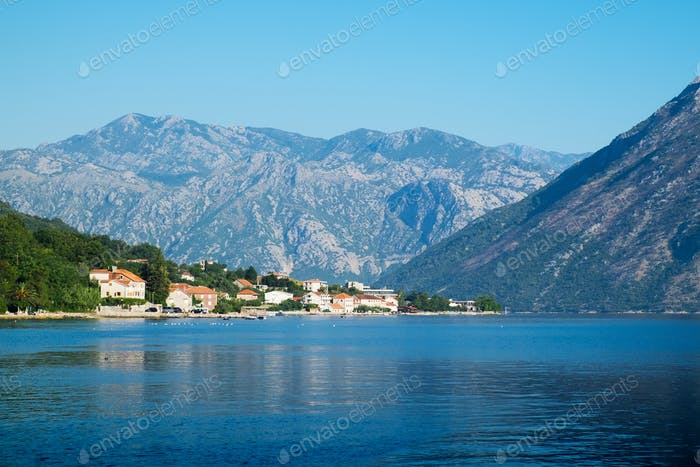 View of Kotor Bay near Stoliv, Montenegro