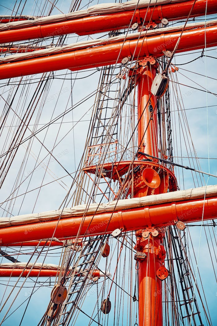 Old sailing ship mast details.