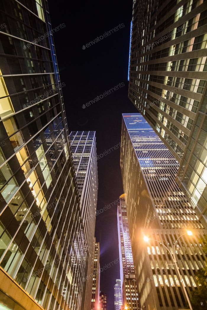 High Skyscrapers near Timesquare at Night in Manhattan