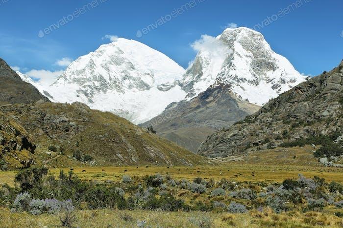 Mt Huascaran from Laguna 69 trail, Peru