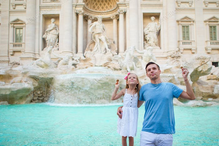 Happy family enjoy their italian vacation holiday in Europe