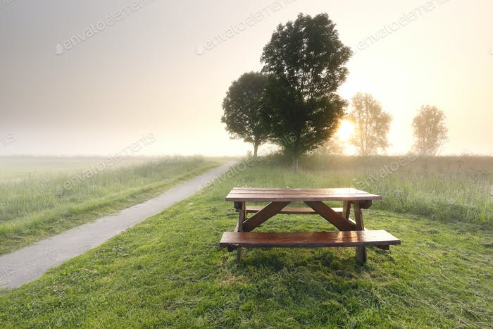 morning sunshine over countryside with table and benches