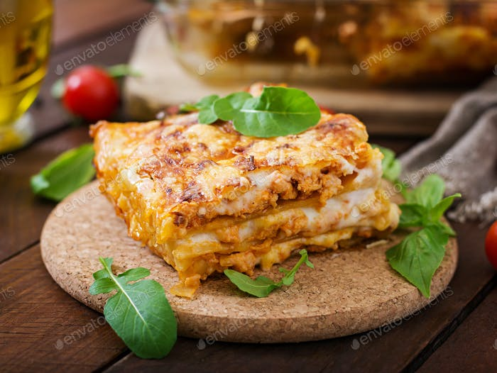 Classic Lasagna with bolognese sauce.