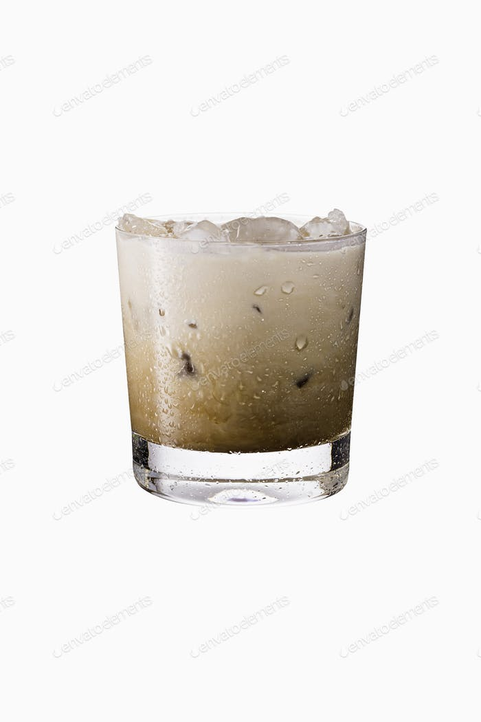 Refreshing White Russian Cocktail on White