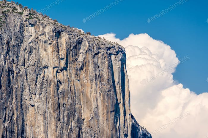 El Capitan rock formation close-up in Yosemite
