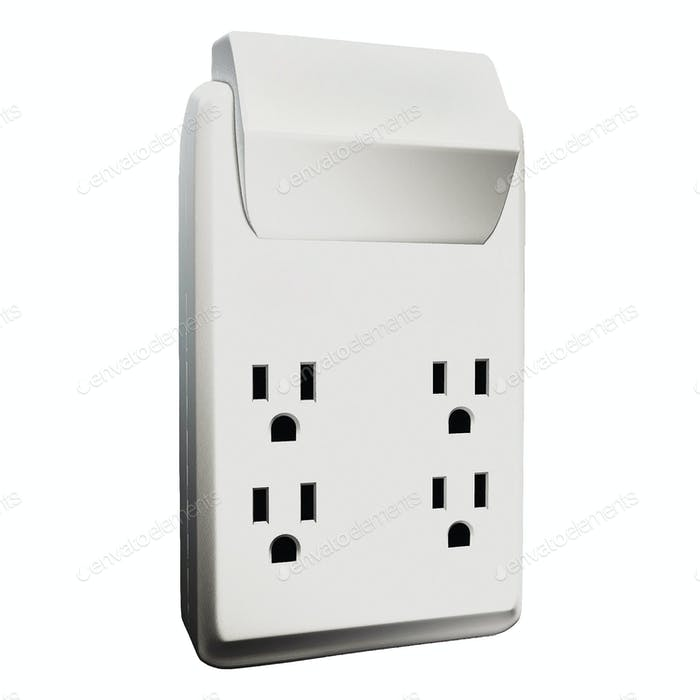 Isolated, multiple electric socket adapter making faces