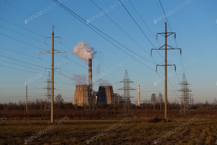 Industrial landscape. Power industrial. Thermal Power Plant