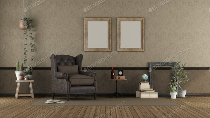 Retro living room with leather armchair