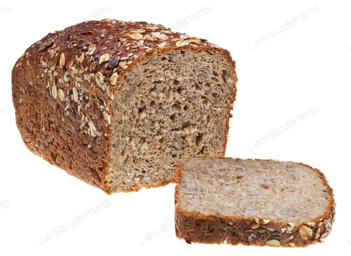 grain bread loaf and sliced hunch