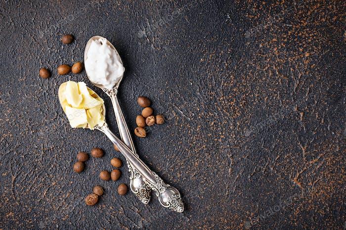 Ingredients for cooking bulletproof coffee.