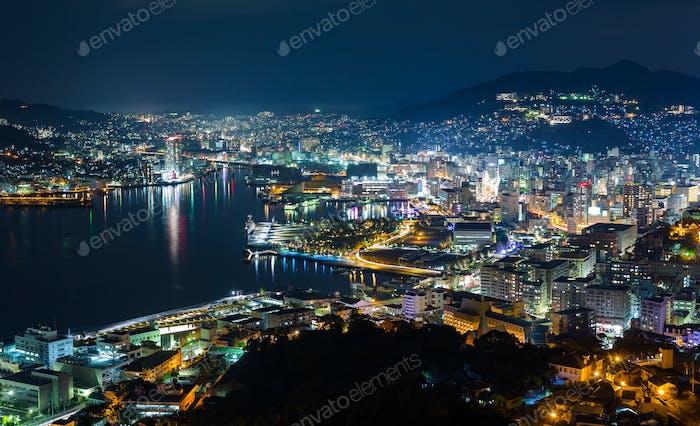 Nagasaki city in Japan at night