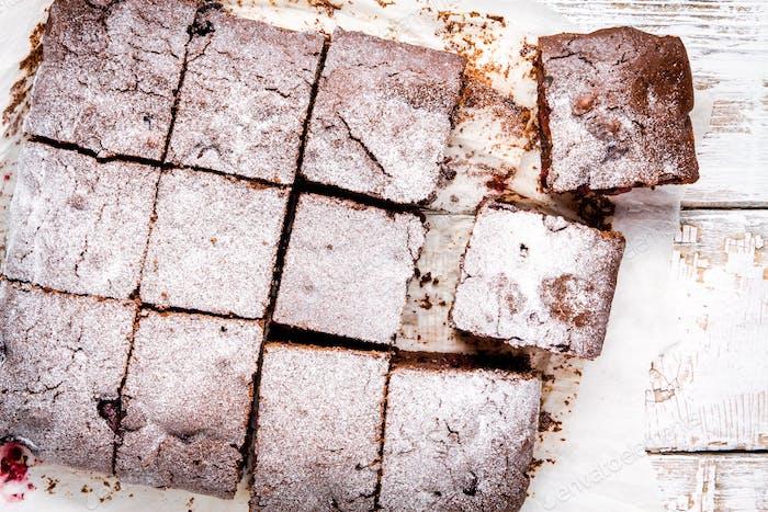 homemade chocolate brownie dessert closeup