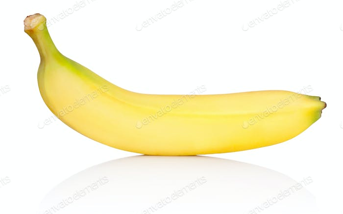 Ripe yellow banana isolated on white background