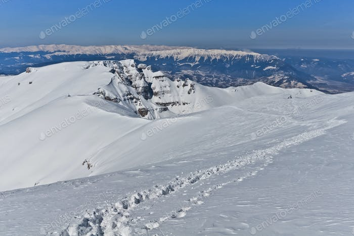 path on a mountain plateau in winter