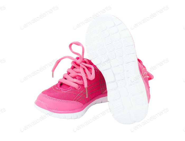 Pink training shoes for girls.