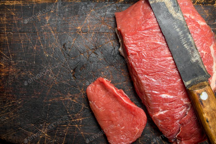 Raw meat.A piece of marbled beef .