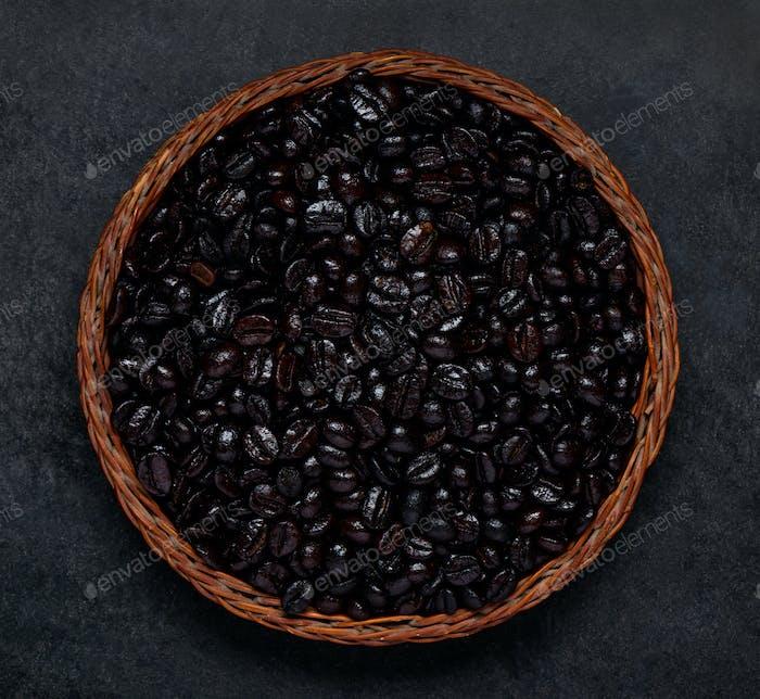 Black Roasted Coffee Beans on Dark Background
